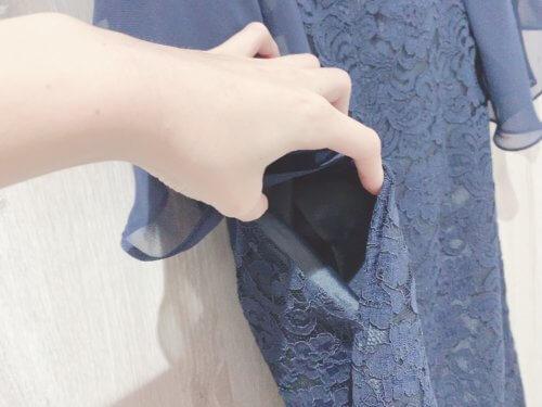 チューリップスリーブレースワンピースのポケット
